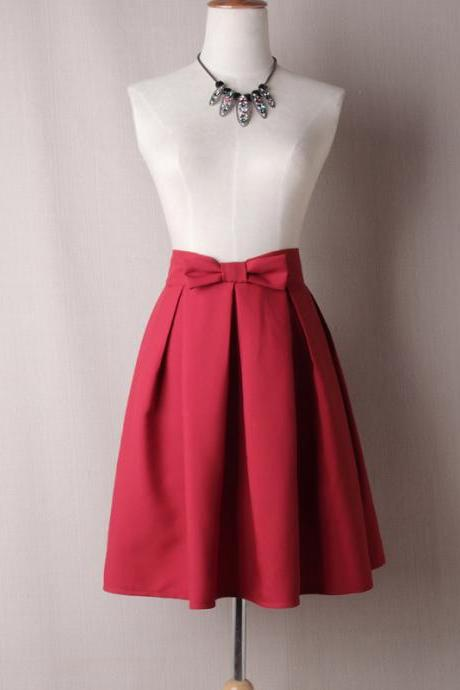 Crimson Red Bow Accent High Rise Knee Length Ruffled Skater Skirt