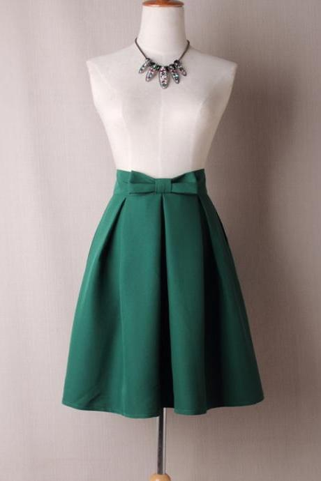 Green High Waist Pleated Knee-Length Midi Skater Skirt with Bow Accent