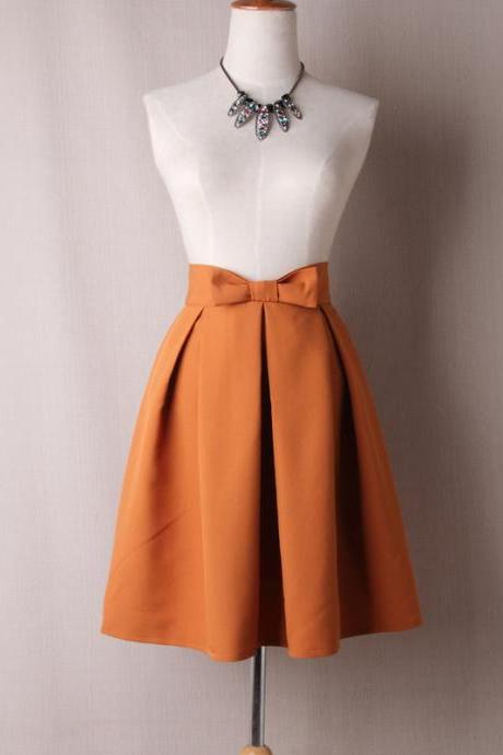 Women Midi Skirt High Waist Pleated Knee Length Vintage A Line Bow Zipper Skater Skirt orange
