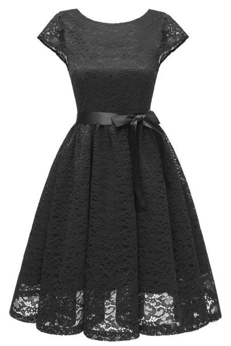 Women Floral Lace Dress O Neck Backless Cap Sleeve Belted A Line Cocktail Party Dress black