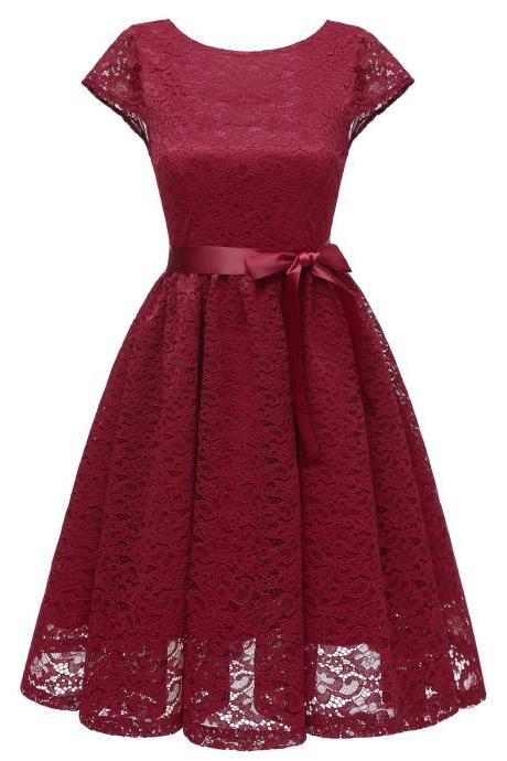Women Floral Lace Dress O Neck Backless Cap Sleeve Belted A Line Cocktail Party Dress burgundy