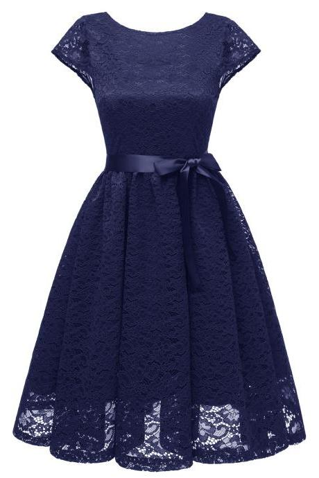Women Floral Lace Dress O Neck Backless Cap Sleeve Belted A Line Cocktail Party Dress navy blue