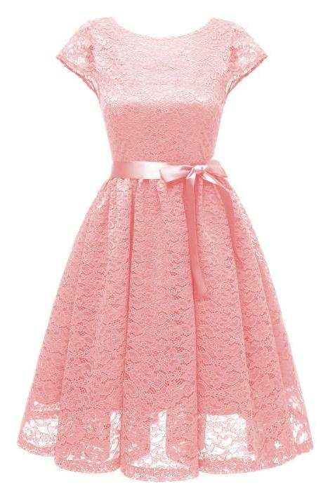 Women Floral Lace Dress O Neck Backless Cap Sleeve Belted A Line Cocktail Party Dress pink