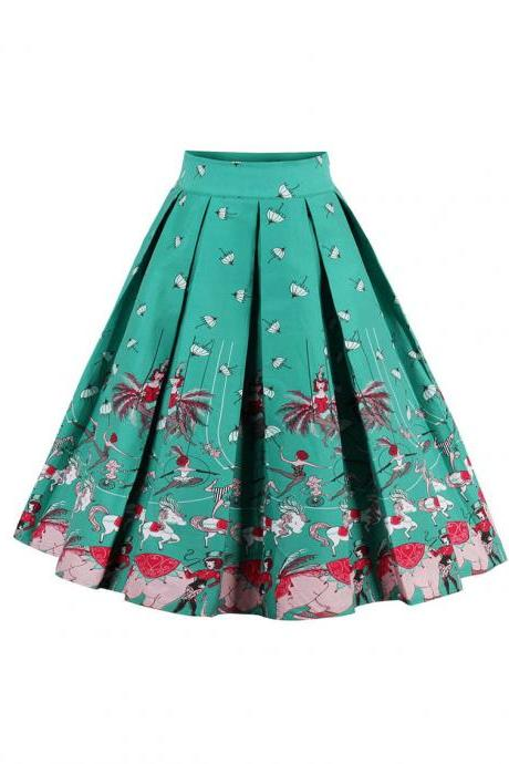 Retro Floral Printed Summer Skirts Womens High Waist Vintage A-Line Midi Skater Skirt 2#