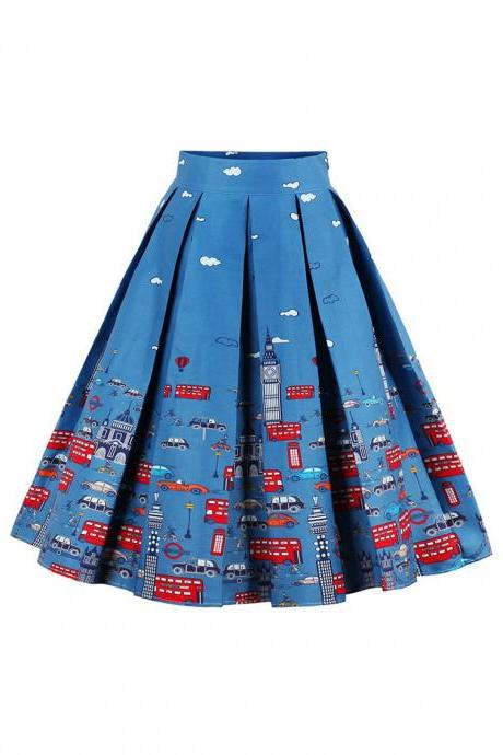 Retro Floral Printed Summer Skirts Womens High Waist Vintage A-Line Midi Skater Skirt 6#