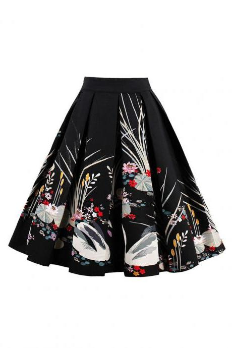 Retro Floral Printed Summer Skirts Womens High Waist Vintage A-Line Midi Skater Skirt 8#