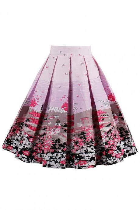 Retro Floral Printed Summer Skirts Womens High Waist Vintage A-Line Midi Skater Skirt 9#