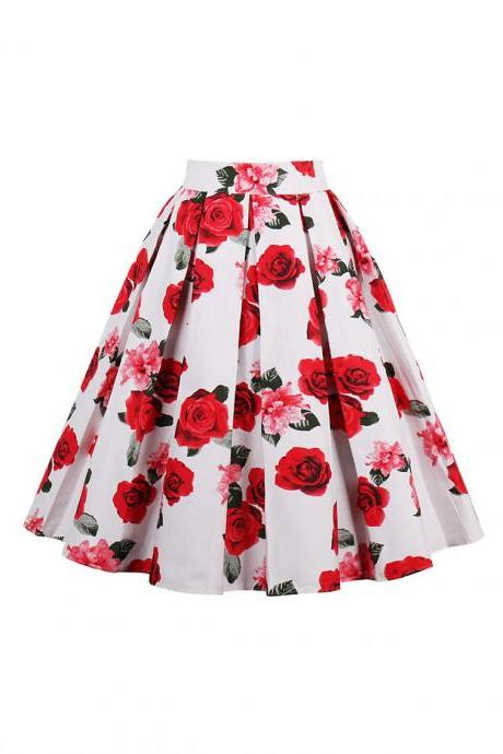 Retro Floral Printed Summer Skirts Womens High Waist Vintage A-Line Midi Skater Skirt 10#