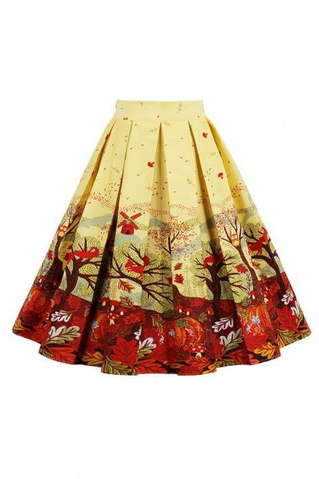 Retro Floral Printed Summer Skirts Womens High Waist Vintage A-Line Midi Skater Skirt 11#