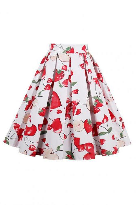 Retro Floral Printed Summer Skirts Womens High Waist Vintage A-Line Midi Skater Skirt 12#