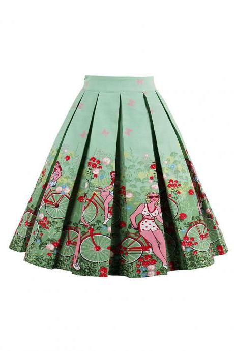 Retro Floral Printed Summer Skirts Womens High Waist Vintage A-Line Midi Skater Skirt 14#