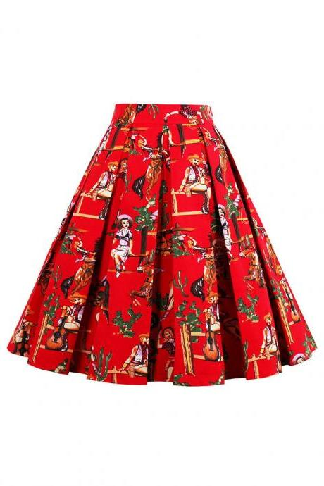 Retro Floral Printed Summer Skirts Womens High Waist Vintage A-Line Midi Skater Skirt 17#