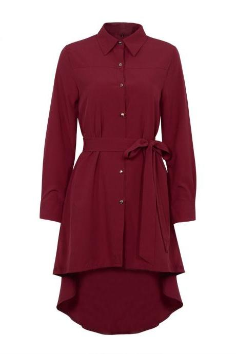 Burgundy Collared Neck Long Cuffed Sleeves Button Down High Low Shirt Dress Featuring Bow Accent Belt