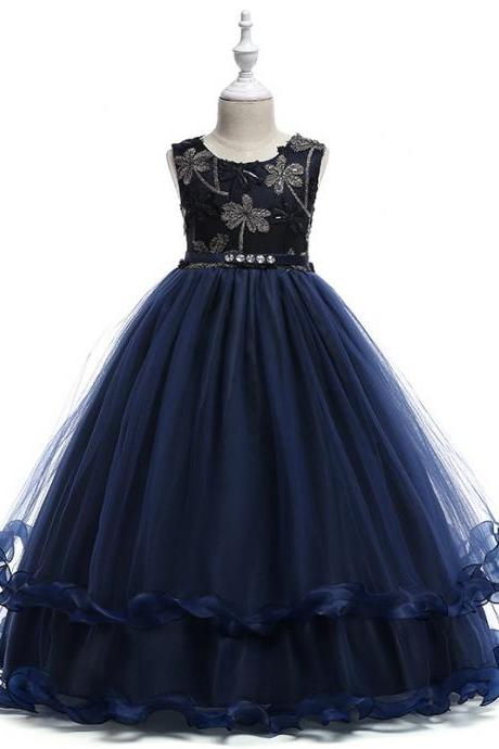 Embroidery Long Flower Girl Dress Kids Princess Party Birthday Gown Belted Children Clothes navy blue