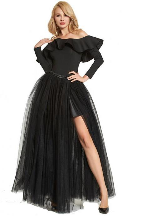 Sexy High Side Split Long Tulle A Line Skirt High Waist Floor Length Women Maxi Tutu Skirt black