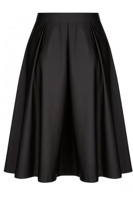 Fashion Women Midi Skater Skirt High Waist Zipper Pleated Swing A Line Skirt black
