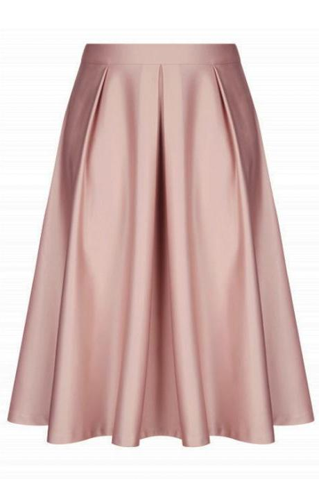 Pink Satin High Rise Ruffled A-Line Midi Skirt