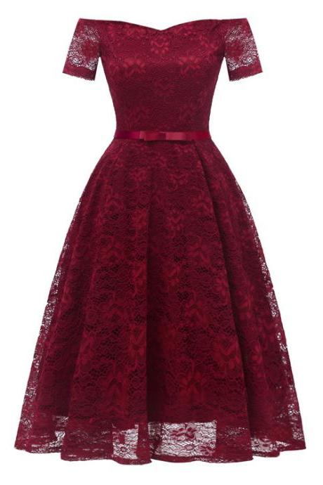 Off the Shoulder Floral Lace Dress Women Short Sleeve Belted Vintage A Line Cocktail Party Dress burgundy