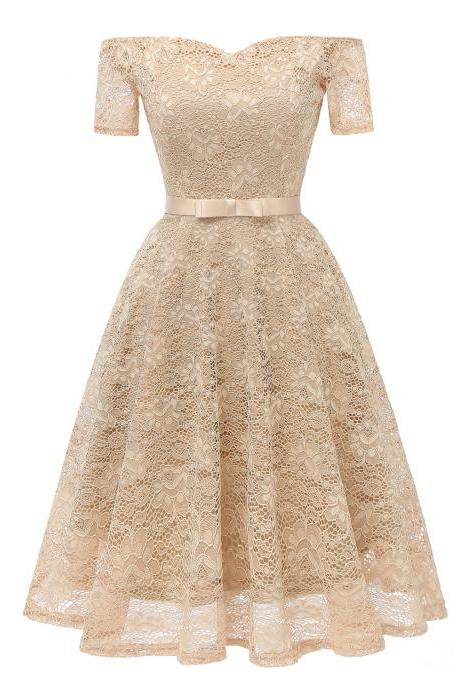 Off the Shoulder Floral Lace Dress Women Short Sleeve Belted Vintage A Line Cocktail Party Dress champagne