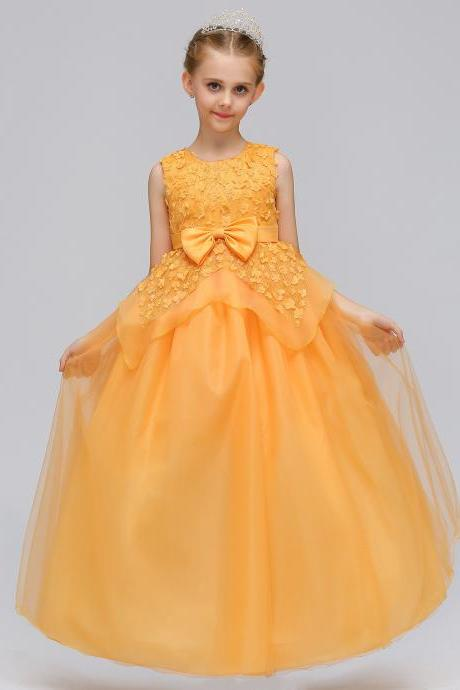 Long Flower Girl Dress Princess Lace Bow Birthday Formal Party Gowns Children Clothes yellow