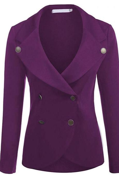 Women Slim Blazer Coat Spring Autumn Casual Long Sleeve Double-Breasted OL Work Suit Jacket purple
