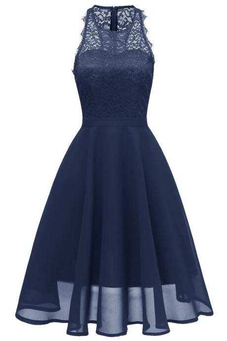 Women Casual Summer Dress Sleeveless O Neck Lace Patchwork A Line Cocktail Party Dress navy blue