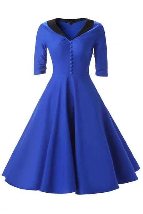 Women Rockabilly Dress Bottons Hepburn 50s 60s Half Sleeve Tunic V Neck A Line Party Dress blue