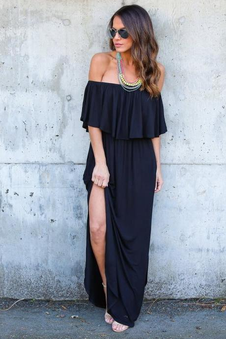Black Off Shoulder Flounce Casual Maxi Dress with Side Split