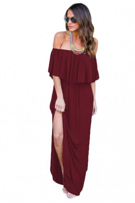 Summer Casual Women Long Dress Off The Shoulder Ruffles Beach Pockets Side Split Maxi Dress burgundy