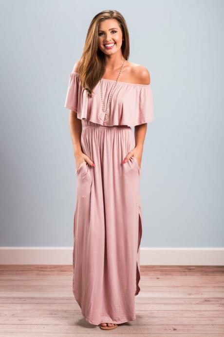 Summer Casual Women Long Dress Off The Shoulder Ruffles Beach Pockets Side Split Maxi Dress pink