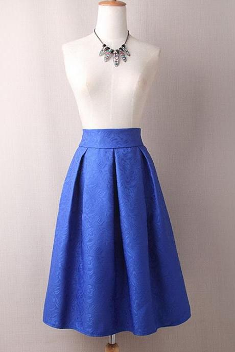 Vintage A Line Midi Skirt High Waist Knee Length Women Work Pleated A Line Skater Skirt blue