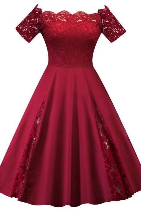 Off The Shoulder Women Dress Plus Size Lace Patchwork Short Sleeve Cocktail Party Dress crimson