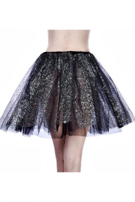 Adult Tutu Skirt Sequin Gilding Polka Dot 3 Layers Party Dance Ballet Pettiskirt Tulle Girl Mini Skirt black