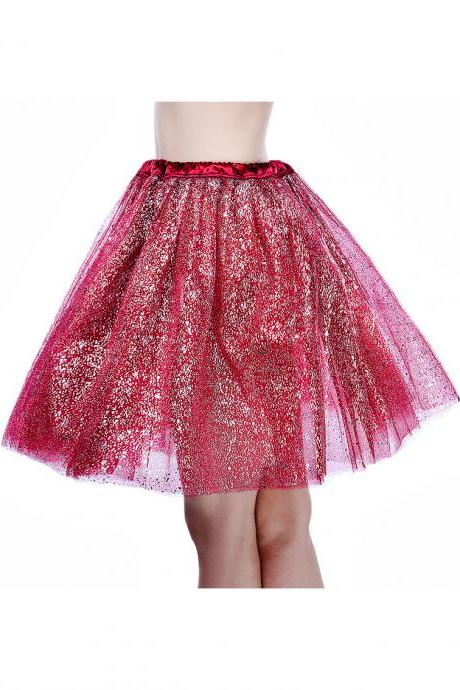 Adult Tutu Skirt Sequin Gilding Polka Dot 3 Layers Party Dance Ballet Pettiskirt Tulle Girl Mini Skirt burgundy