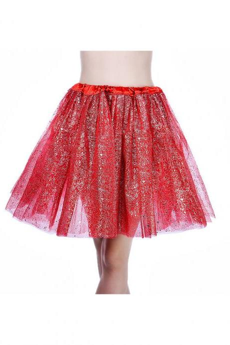 Adult Tutu Skirt Sequin Gilding Polka Dot 3 Layers Party Dance Ballet Pettiskirt Tulle Girl Mini Skirt red