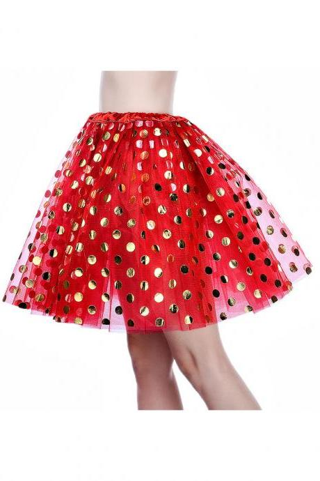 Adult Tutu Skirt Sequin Gilding Polka Dot 3 Layers Party Dance Ballet Pettiskirt Tulle Girl Mini Skirt red+gold