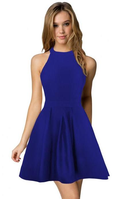 Sexy Short Nightclub Wear Halter Blackless Zipper A-Line Mini Cocktail Party Dress royal blue