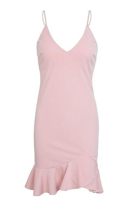 Sexy V Neck Mini Dress Spaghetti Strap Ruffle Mermaid Women Summer Bodycon Club Party Dress pink