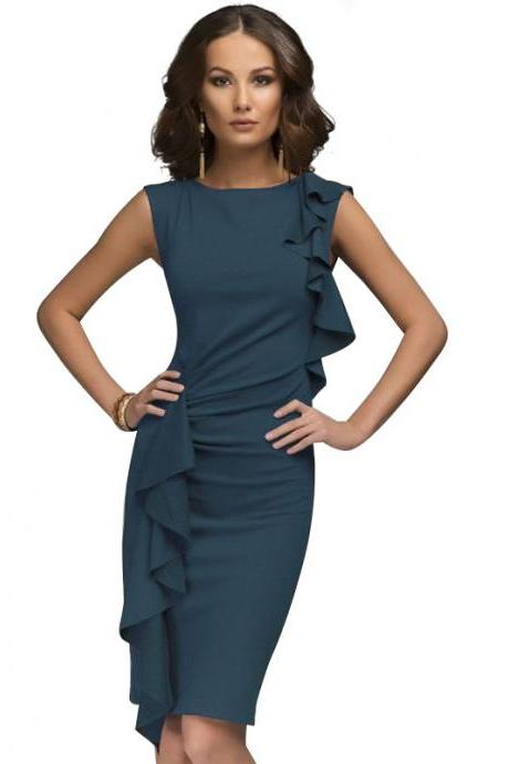 Two Side Flounce Trim Bodycon Dress Sleeveless Slim Sheath Short Party Pencil Dress navy blue