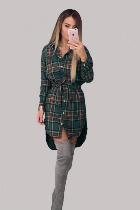 Women Plaid Shirt Dress Casual Long Sleeve Belted Asymmetrical Office Work Party Dress green