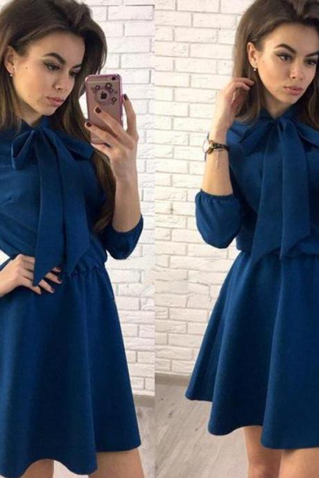 Women Summer Casual Dress 3/4 Sleeve Solid Bow Tie A-Line Mini Club Party Dress dark blue