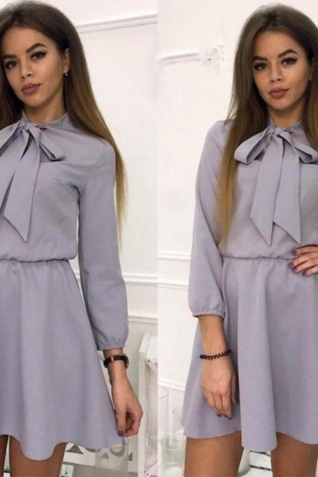 Women Summer Casual Dress 3/4 Sleeve Solid Bow Tie A-Line Mini Club Party Dress gray