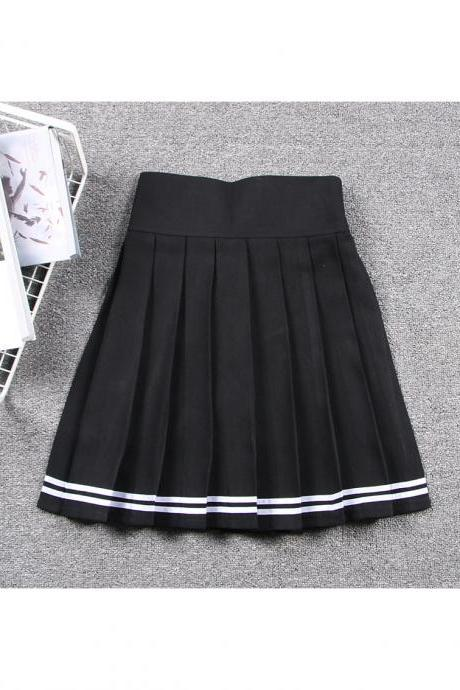 Harajuku JK Summer Skirt Women High Waist Cosplay Solid Girl Mini Pleated Skirt black+off white