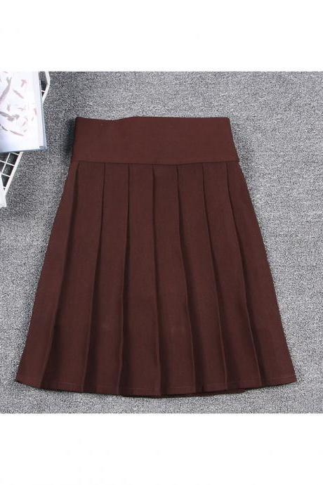 Harajuku JK Summer Skirt Women High Waist Cosplay Solid Girl Mini Pleated Skirt chocolate