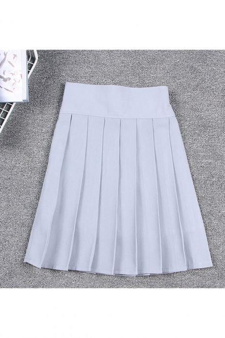 Harajuku JK Summer Skirt Women High Waist Cosplay Solid Girl Mini Pleated Skirt light gray