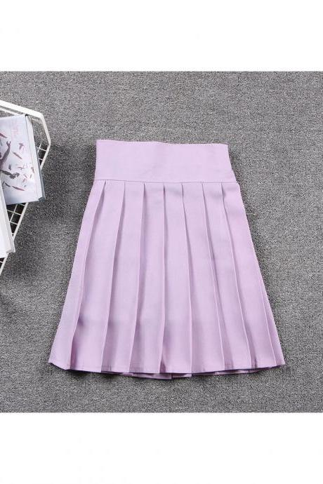 Harajuku JK Summer Skirt Women High Waist Cosplay Solid Girl Mini Pleated Skirt lilac