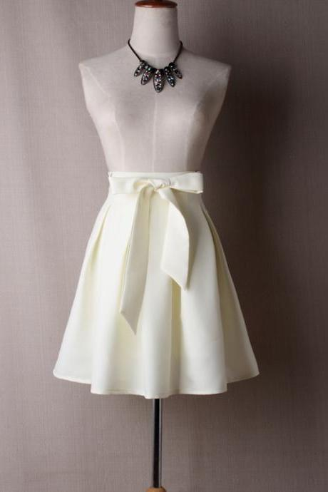 Women A Line Midi Skirt High Waist Bow Belted Office Work Pleated Tutu Short Skater Skirt off white
