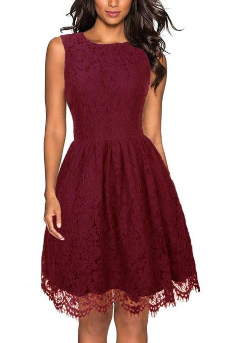 Women Sleeveless Casual Dress V-Back Floral Lace Rockabilly A-Line Cocktail Party Dress burgundy