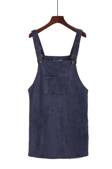 Women Corduroy Suspender Sundress Casual Retro Pocket Overall Vest Mini Casual Dress navy blue