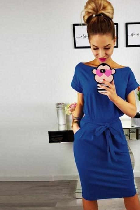 Women Slim Bodycon Pencil Dress Short Sleeve Belted Pockets Sheath Work Office Party Dress Women Slim Bodycon Pencil Dress Short Sleeve Belted Pockets Sheath Work Office Party Dress